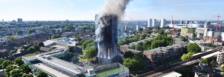 Grenfell Tower fire in London.