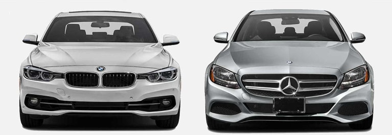 BMW 3 Series (left) and Mercedes-Benz C-Class sports sedans