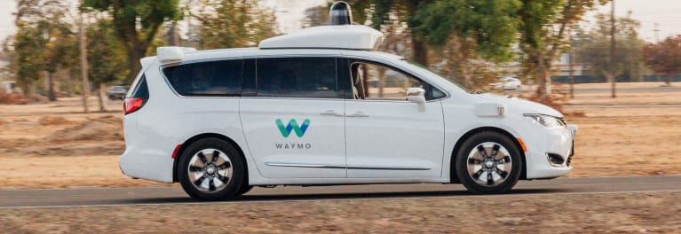 The Waymo self-driving car facility and Pacifica minivan