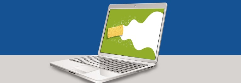 Illo of a computer being sponged down for a story on how to wipe a computer clean