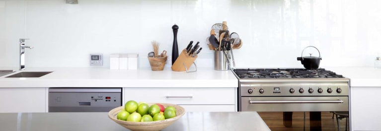Photo of a kitchen with a kitchen range