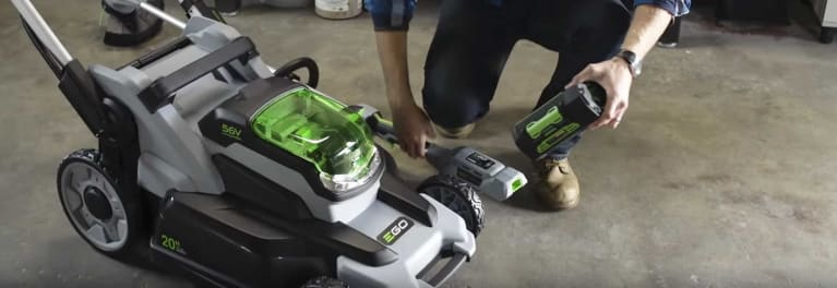 An Ego electric mower.
