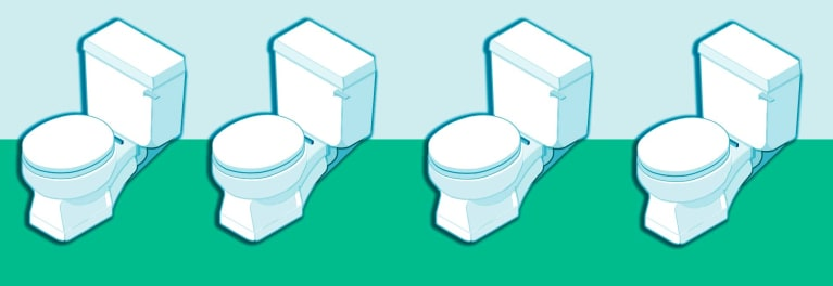 An illustration of water-saving toilets