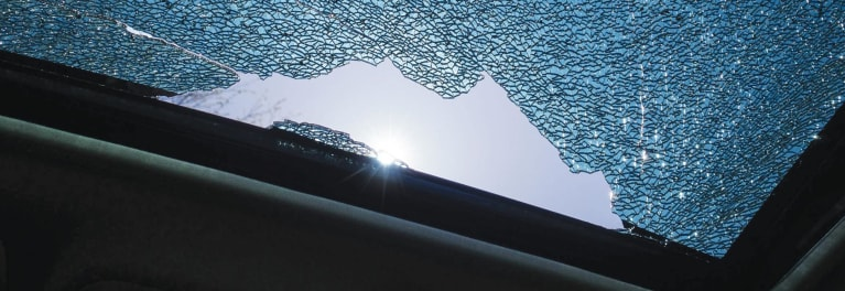 Tempered glass, the kind typically used in sunroofs, can fail explosively.