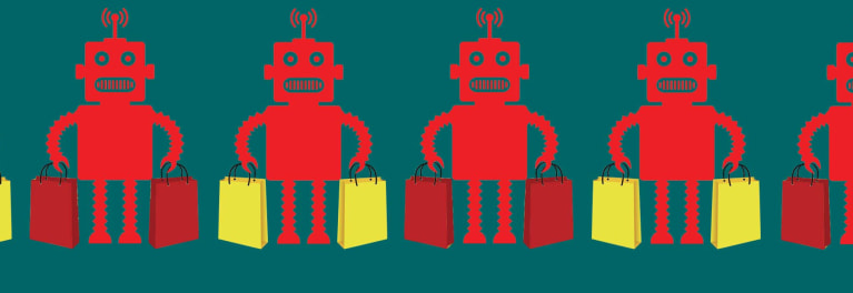An illustration of a robot holding bags of holiday toys.