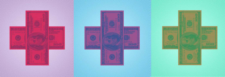 Dollar bills arranged as a cross. Changes to the tax law could make short-term health insurance plans more popular. Are they a good deal?