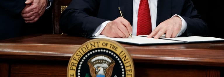 President Trump signing an executive order to overhaul healthcare