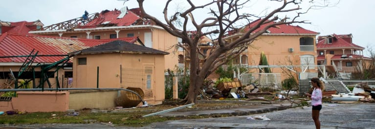 Houses damaged by a hurricane.
