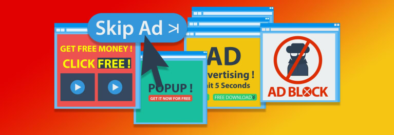 Ad-blocker icons grouped together for an article on choosing the best ad blocker.