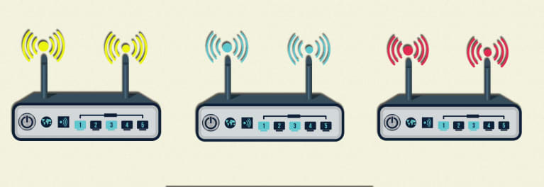 2018 WiFi routers, represented by a simple drawing of three WiFi routers.
