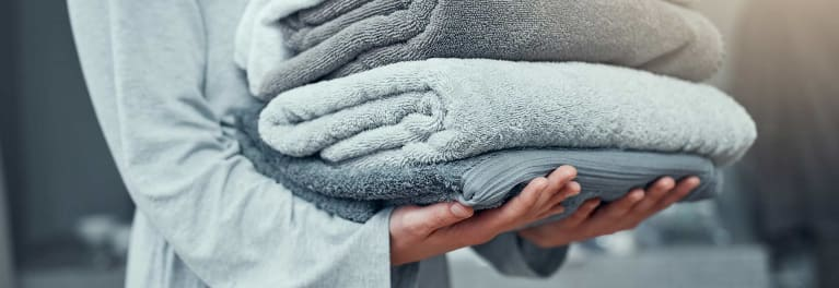 Towels washed with Tide detergent.