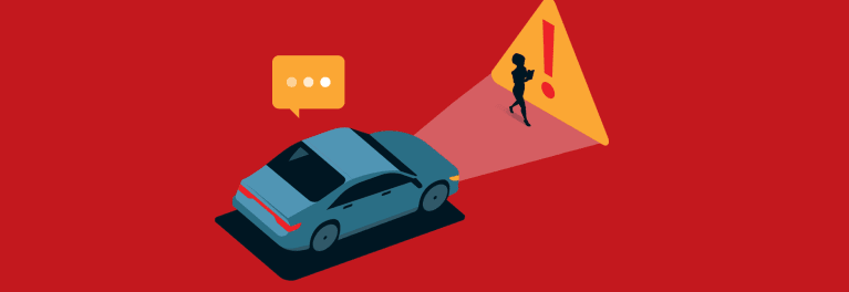 A graphic of a car and a traffic sign.
