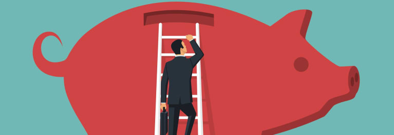 Illustration of a man on a white ladder climbing a red piggy bank.