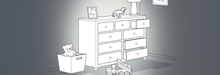 Illustration of a typical dresser in a child's room