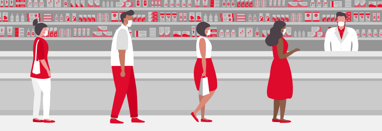 Illustration of shoppers at a store during the coronavirus pandemic