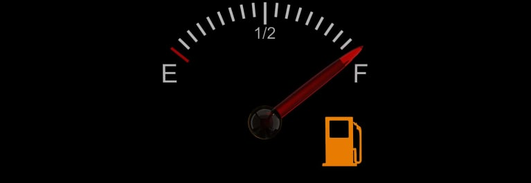 Should you keep your gas tank full? Photo of a gas gauge showing a full tank.