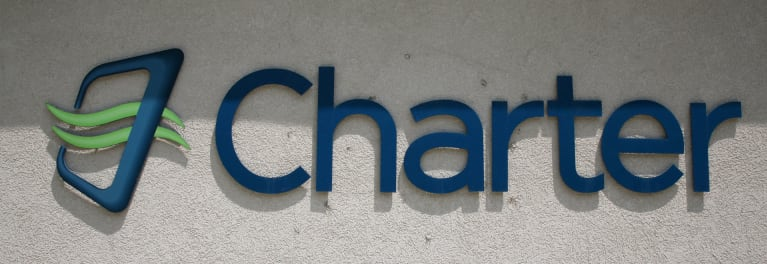 A photo of the Charter logo for an article about the Charter-Time Warner Cable merger.