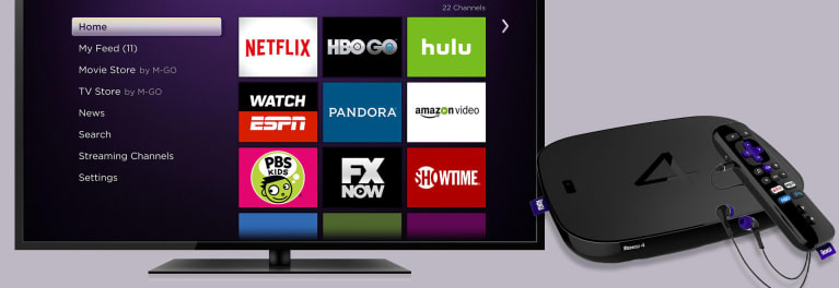 Photo of the Roku 4 streaming media player and a screen shot of its home screen.