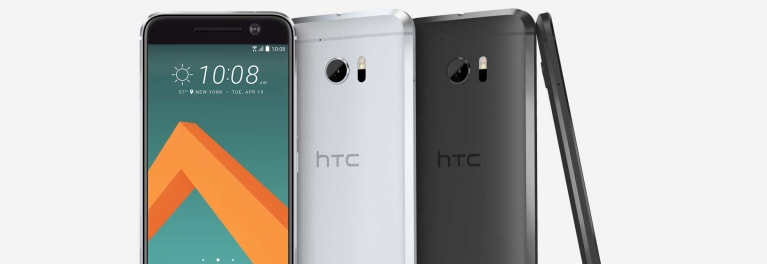 Four HTC 10 smartphones, with a 5.2-inch display and thin, 0.4-inch profile.