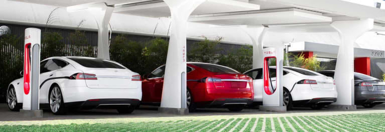 Tesla Model S cars at Superchargers