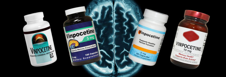 Vinpocetine pill bottles. The illegal prescription drug vinpocetine was found in memory supplements sold at GNC and Vitamin Shoppe.