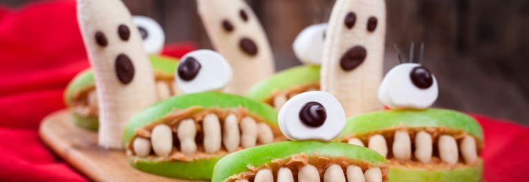 A few examples of healthy Halloween treats.