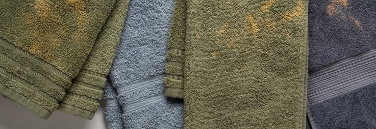 Towels stained with benzoyl peroxide.