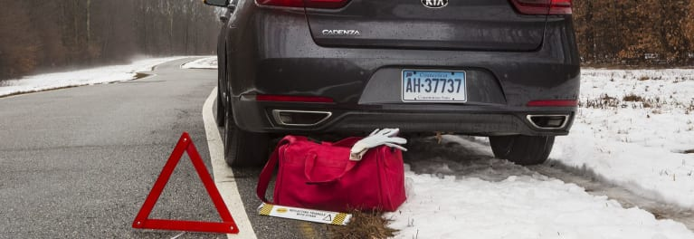 An emergency kit can help during a winter car emergency.