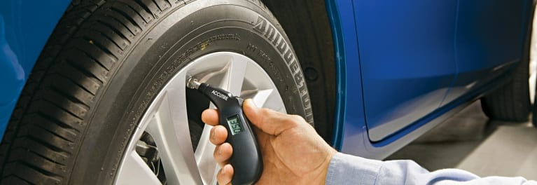 Checking tire pressure is important for tire safety.