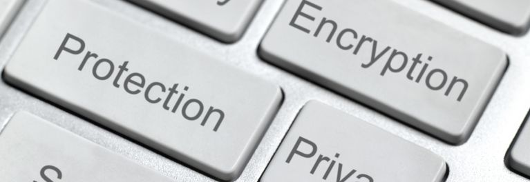 laptop keys labeled Encryption, Protection, and Privacy