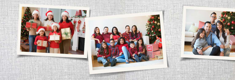Several family portraits with holiday themes, grouped together