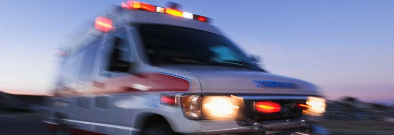 Opioid overdoses: Ambulance rushing overdose victim to hospital.