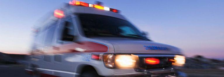 Opioid overdoses: Ambulance rushing overdose victim to hospital.