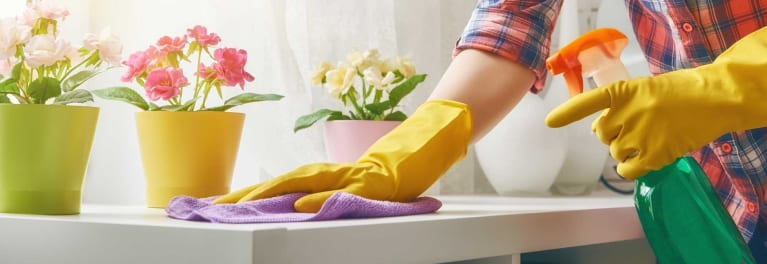 A person cleaning.