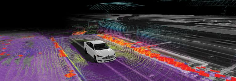 Self-driving Ford Fusion computer graphics