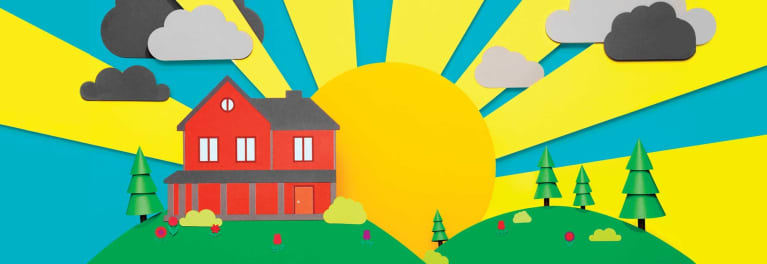 A colorful photo-illustration of a house, sun, trees, etc.