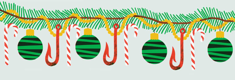 An illustration of holiday ornaments