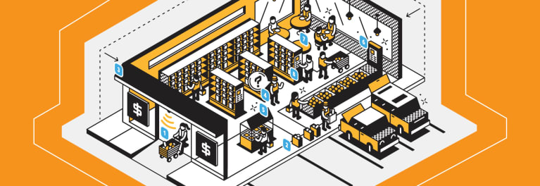 Illustration of the supermarket of the future