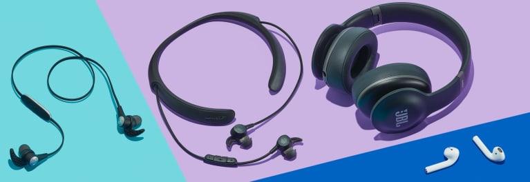 Various headphones.