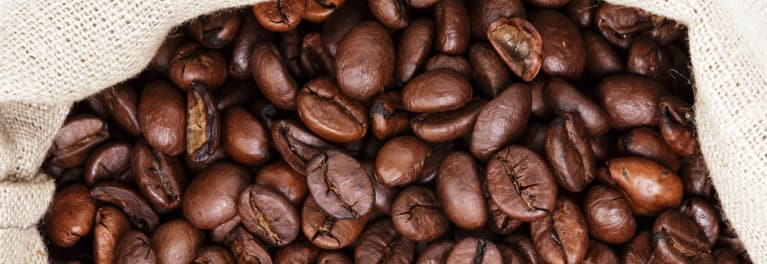 Coffee beans in coffee packaging.