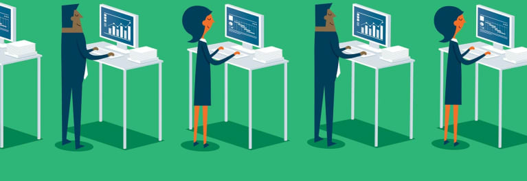Illustration of people at standing desks. Adopting proper desk posture is important whether you sit or stand.