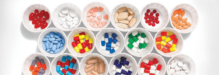 Prescription medication. Image of multiple pills.