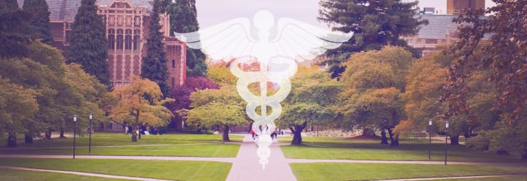 A college campus and the medical symbol.