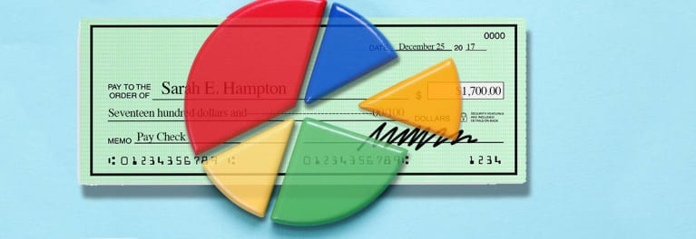 An illustration of a check with a pie chart on top of it.