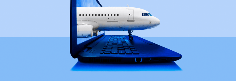 An illustration of an airplane coming out of a computer