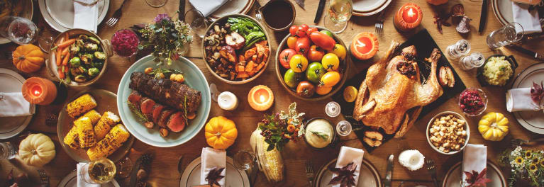 A spread of holiday foods.