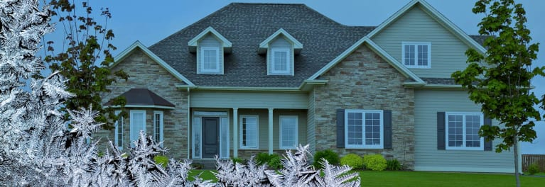 A home being enveloped by ice crystals.