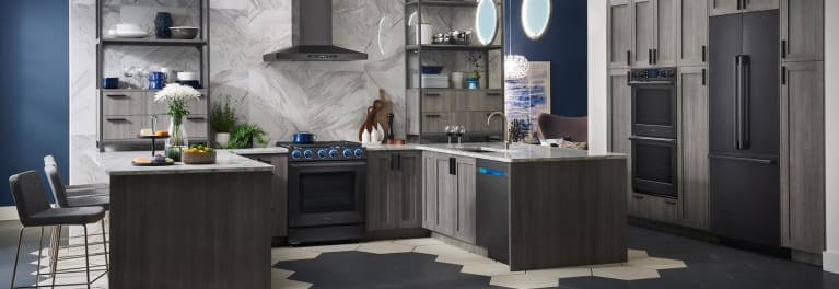 Kitchen With Black Stainless Liances