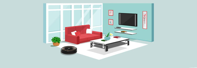 An illustration of a living room.