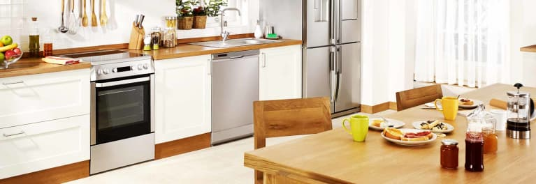 One of the new dishwasher styles in a kitchen.